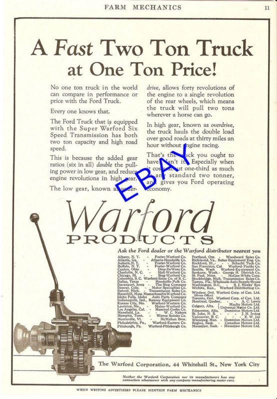 1927 WARFORD FORD TRUCK 6 SPEED TRANSMISSION AD NYC NY